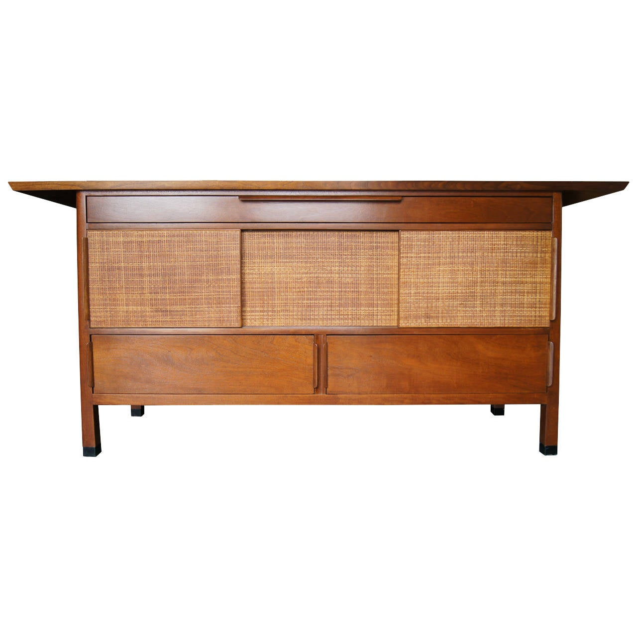 Large sideboard with rattan front by edward wormley for for Sideboard rattan
