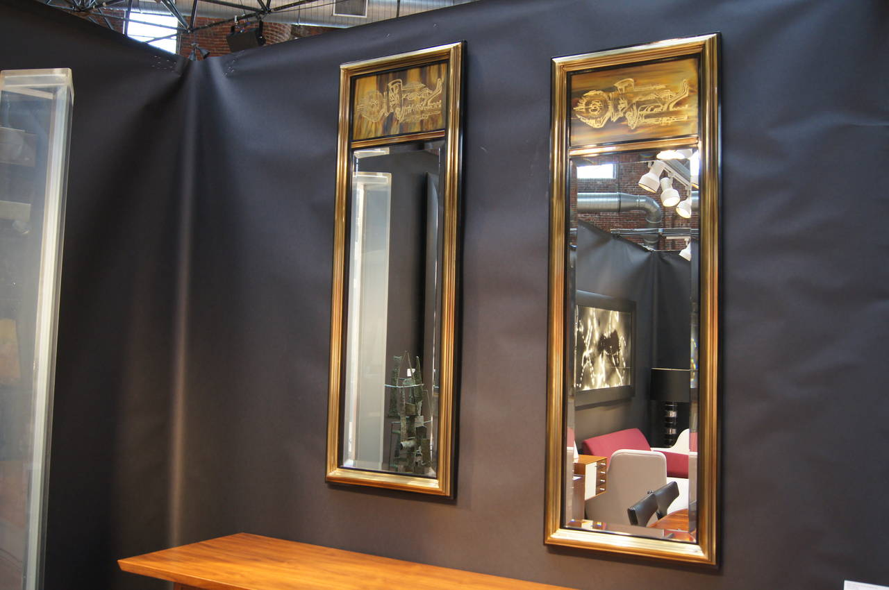 Pair of Acid-Etched Brass Mirrors by Bernhard Rohne for Mastercraft 2