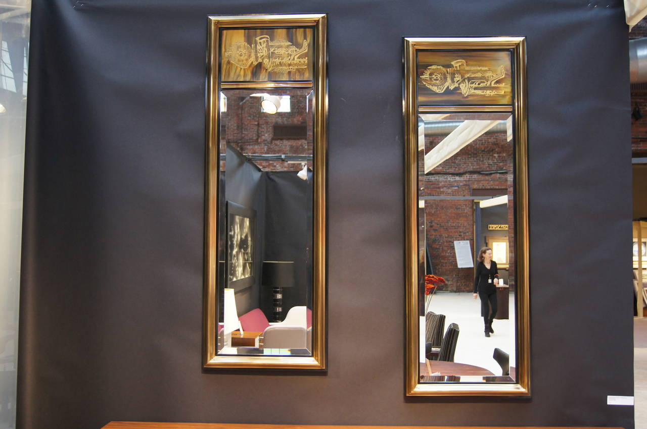 Pair of Acid-Etched Brass Mirrors by Bernhard Rohne for Mastercraft 3
