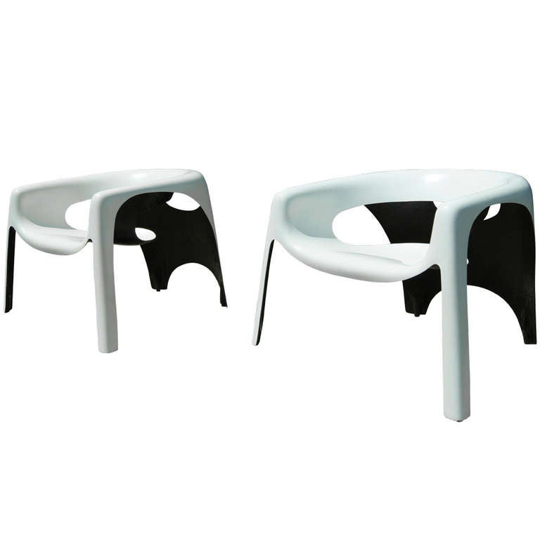 Pair of Space Age Fiberglass Outdoor Chairs