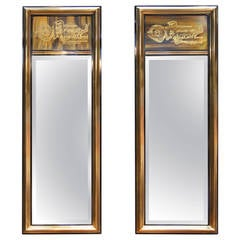 Pair of Acid-Etched Brass Mirrors by Bernhard Rohne for Mastercraft