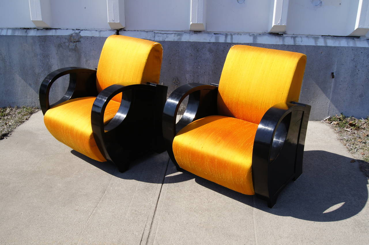 Pair of Ebonized Art Deco Club Chairs For Sale 2
