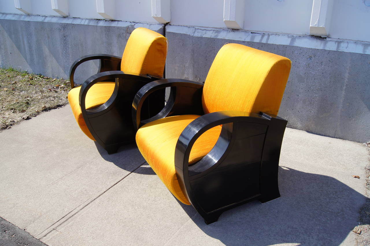 Pair of Ebonized Art Deco Club Chairs For Sale 1