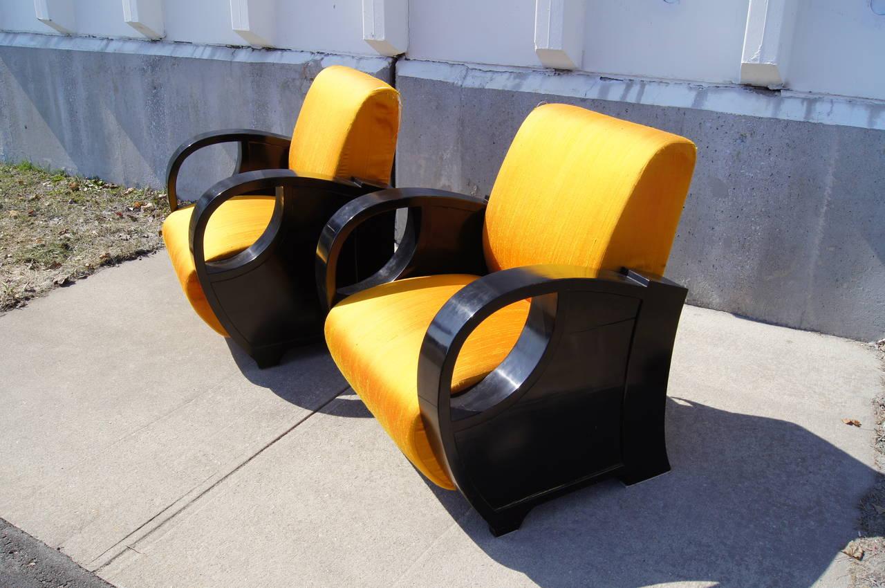 Pair of Ebonized Art Deco Club Chairs 7