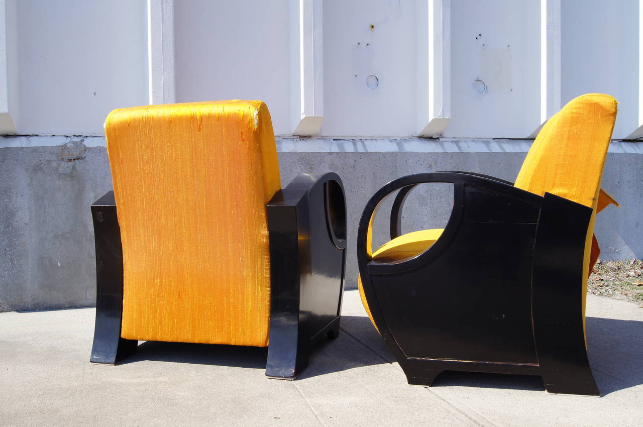 Upholstery Pair of Ebonized Art Deco Club Chairs For Sale