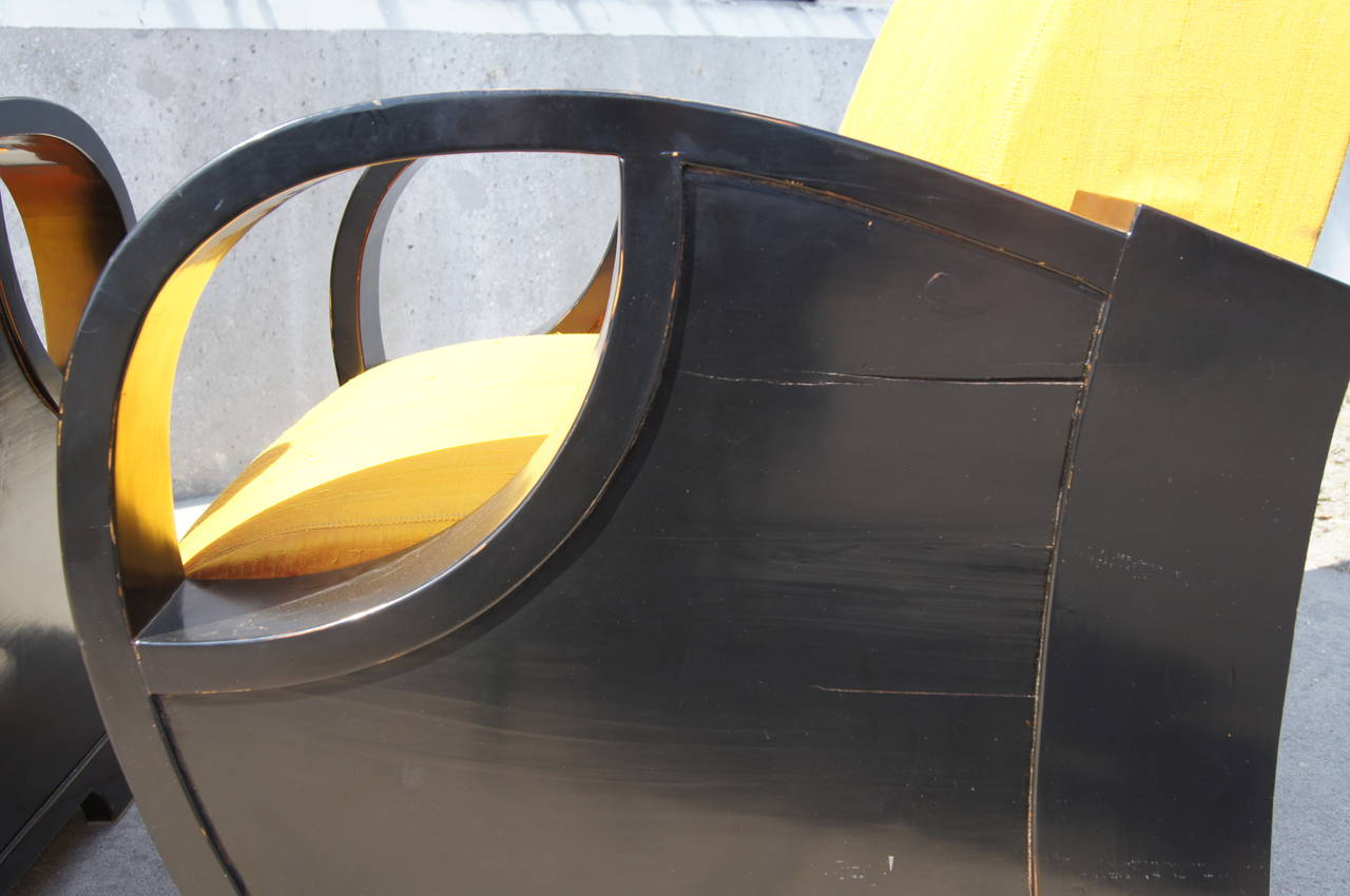 Pair of Ebonized Art Deco Club Chairs For Sale 3