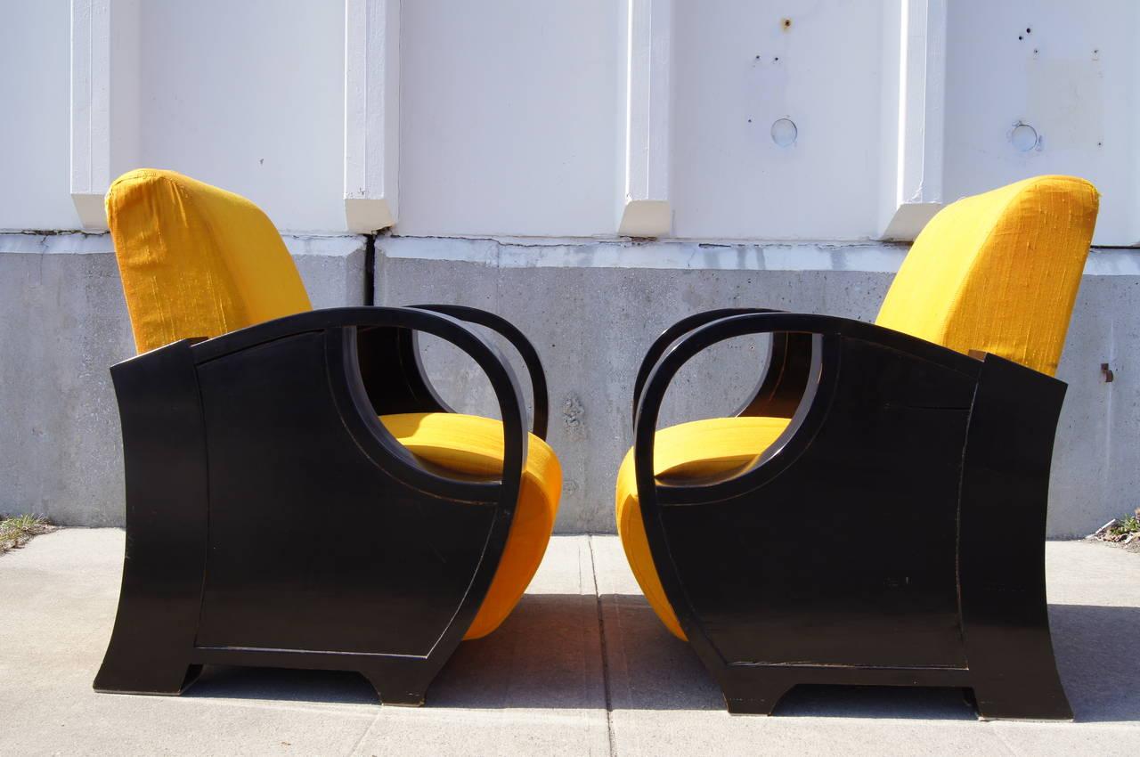English Pair of Ebonized Art Deco Club Chairs For Sale
