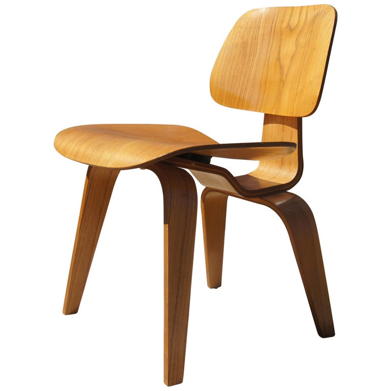 Vintage Oak Dcw Dining Chair By Eames For Herman Miller