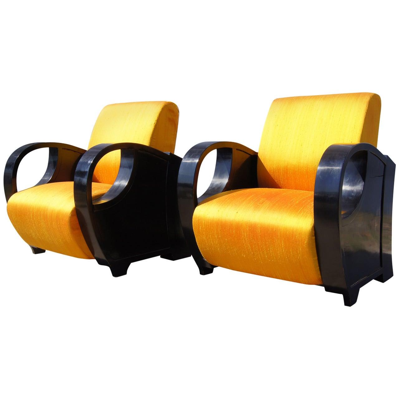 Pair of Ebonized Art Deco Club Chairs, 1930s
