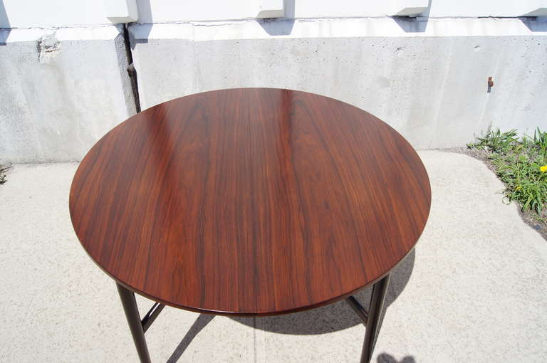 Danish Modern Round Rosewood Dining Table With Extension For 2