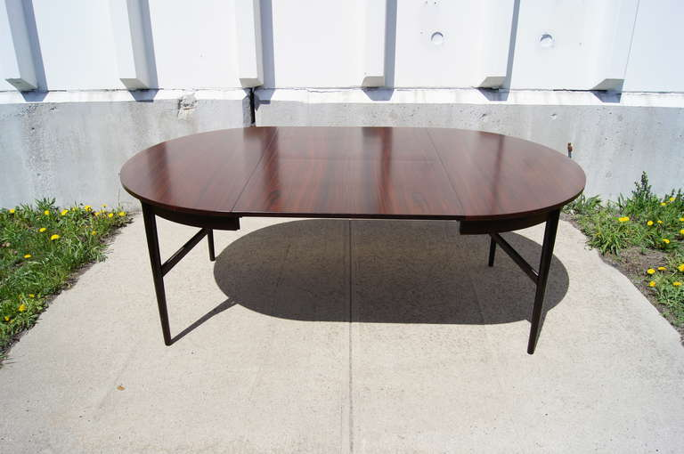 round rosewood extension dining table for sale at 1stdibs