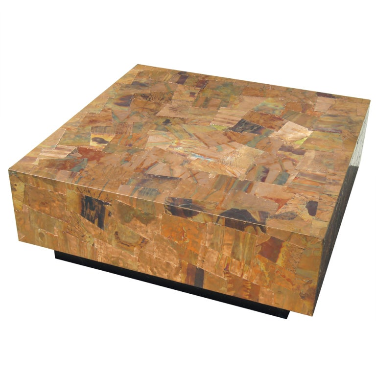 Patchwork Copper Coffee Table After Silas Seandel At 1stdibs