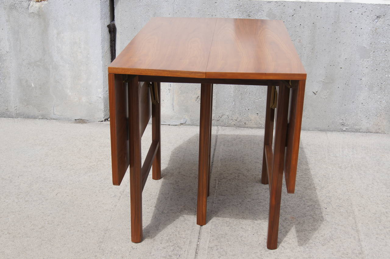 Drop leaf extension dining table by edward wormley for for Drop leaf extension table