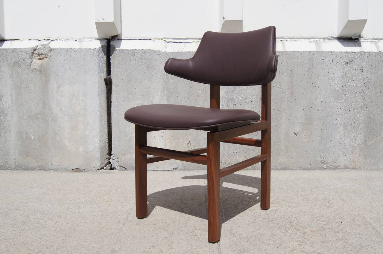 American Set of Six Leather and Walnut Dining Chairs by Edward Wormley for Dunbar
