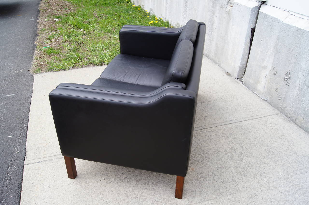Black Leather Settee In The Style Of Borge Mogensen For