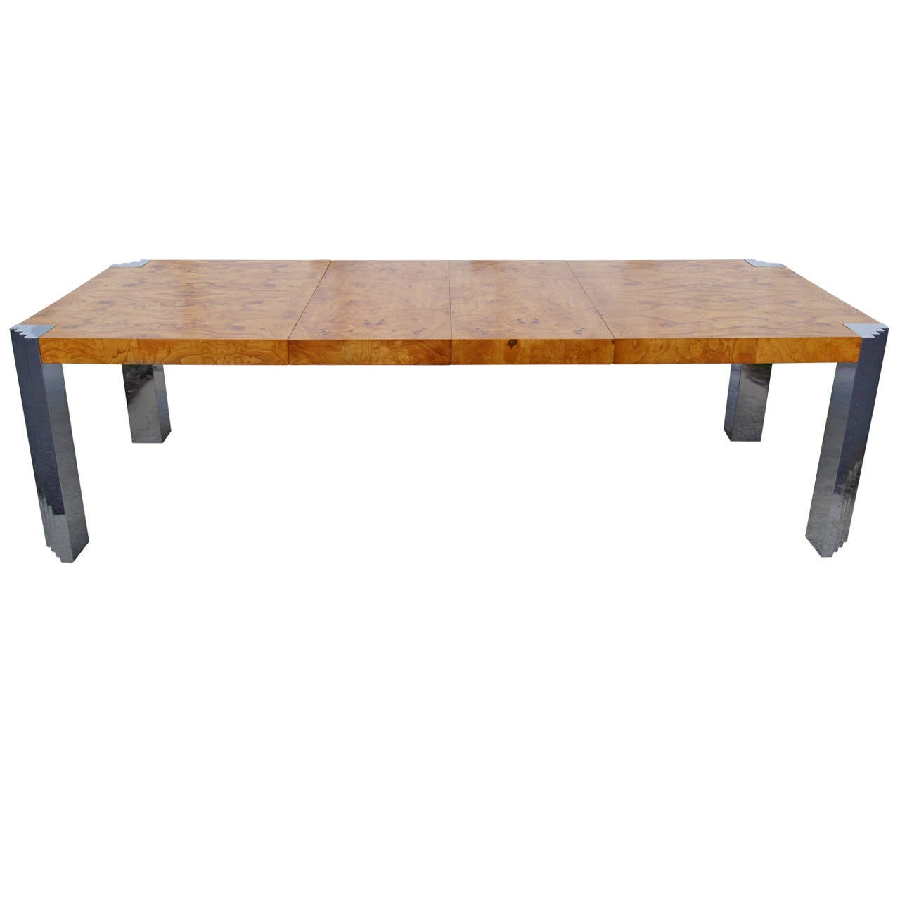 Burl Wood and Chrome Dining Table by Milo Baughman for Pace