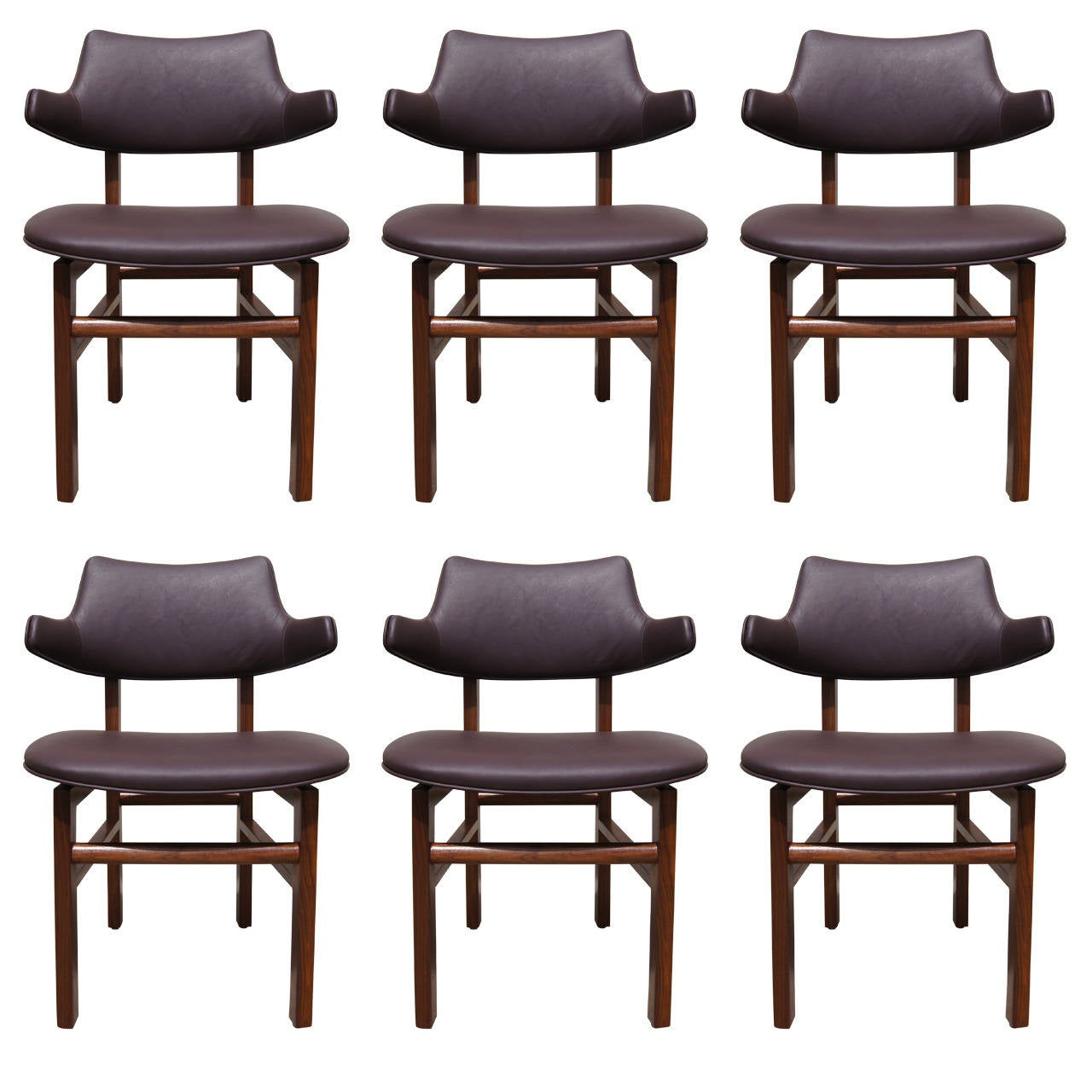 Set of Six Leather and Walnut Dining Chairs by Edward Wormley for Dunbar