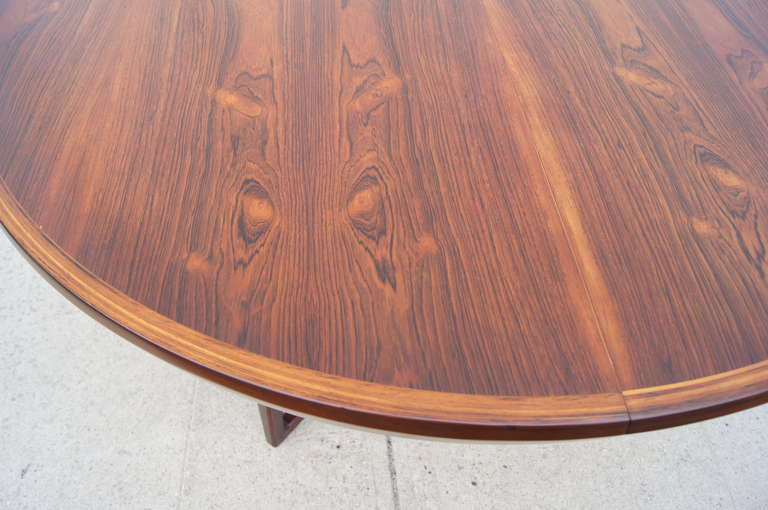 Leather Rosewood Dining Table and Six Chairs by Arne Vodder For Sale