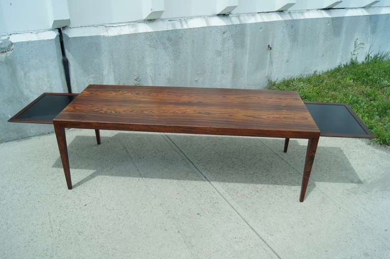 Rosewood coffee table with extension trays by severin for Coffee table extension