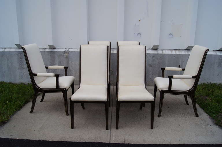 Set of Six Amboyna Wood Dining Chairs by William Doezema for Mastercraft For Sale 4