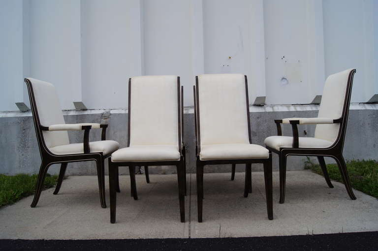 Modern Set of Six Amboyna Wood Dining Chairs by William Doezema for Mastercraft For Sale