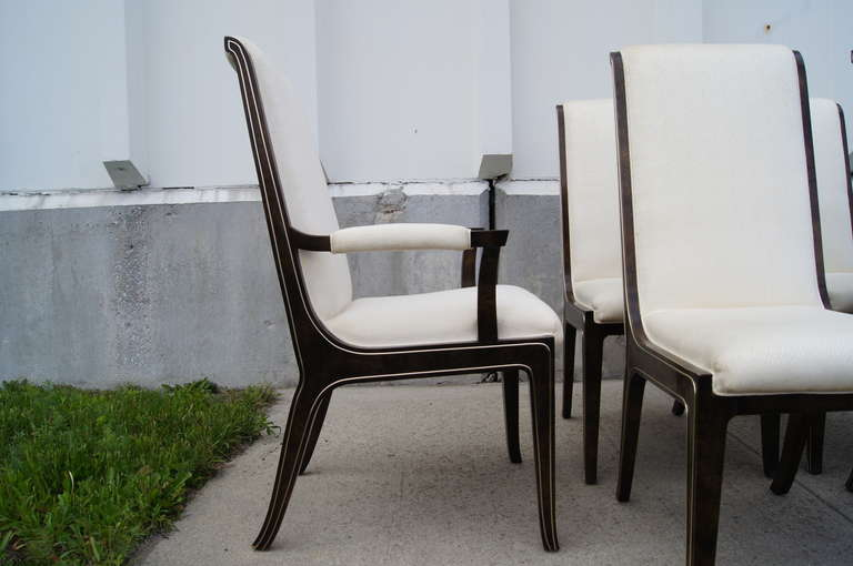 American Set of Six Amboyna Wood Dining Chairs by William Doezema for Mastercraft For Sale