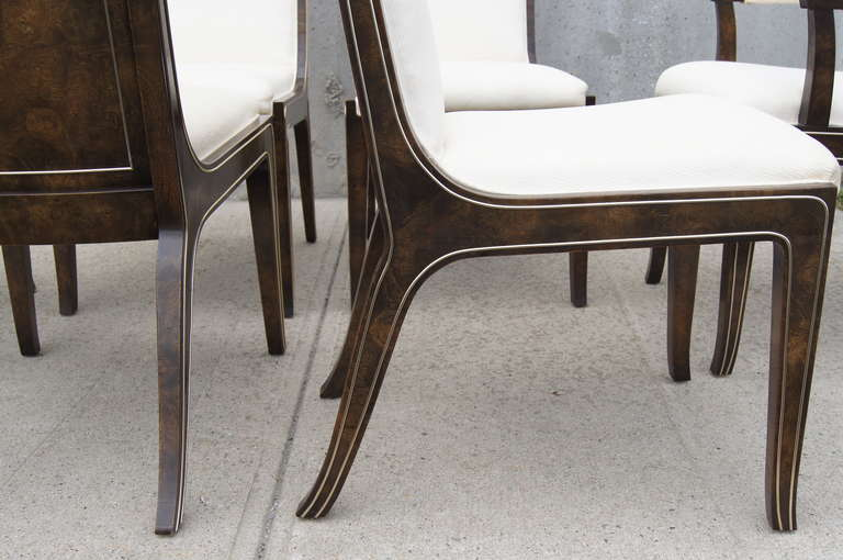 Set of Six Amboyna Wood Dining Chairs by William Doezema for Mastercraft In Excellent Condition For Sale In Boston, MA