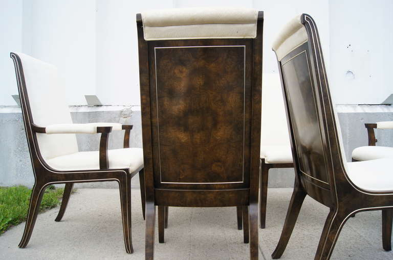 Late 20th Century Set of Six Amboyna Wood Dining Chairs by William Doezema for Mastercraft For Sale