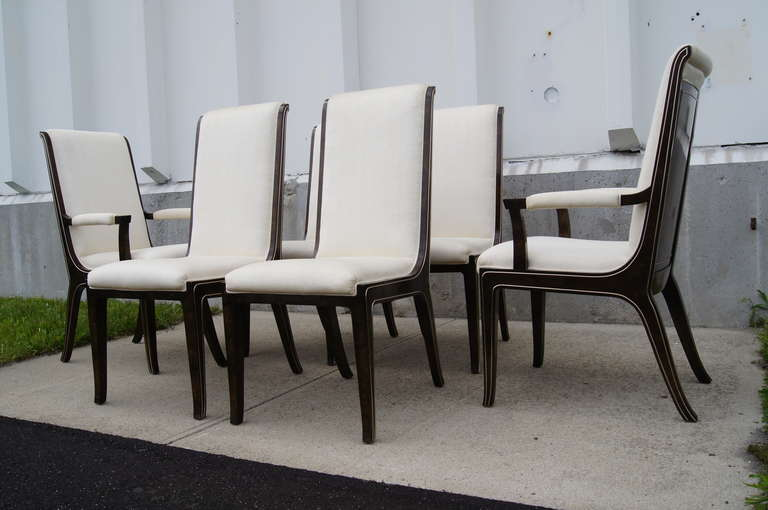 Set of Six Amboyna Wood Dining Chairs by William Doezema for Mastercraft For Sale 1