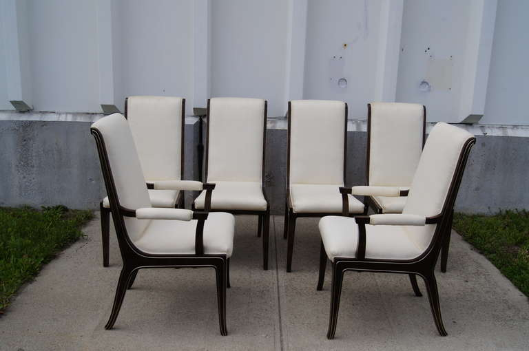 Set of Six Amboyna Wood Dining Chairs by William Doezema for Mastercraft For Sale 2