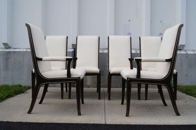 Set of Six Amboyna Wood Dining Chairs by William Doezema for Mastercraft For Sale 3