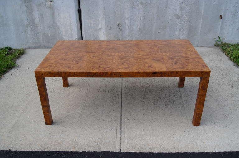 Modern Custom Walnut Burl Wood Parsons Coffee Table For Sale