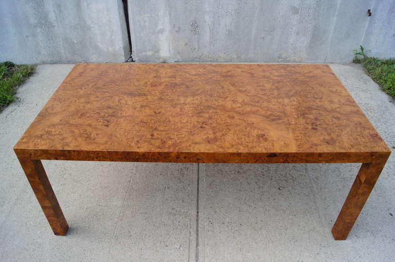 American Custom Walnut Burl Wood Parsons Coffee Table For Sale