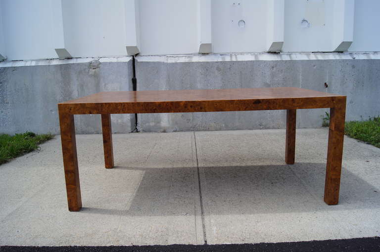 Custom Walnut Burl Wood Parsons Coffee Table In Good Condition For Sale In Boston, MA