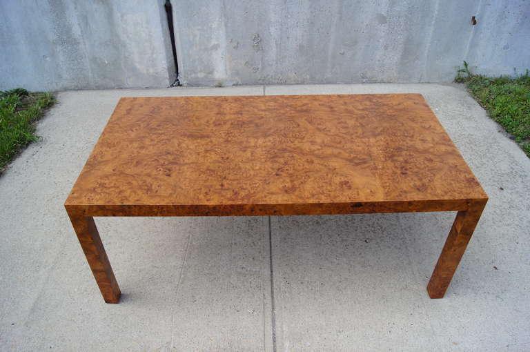 20th Century Custom Walnut Burl Wood Parsons Coffee Table For Sale