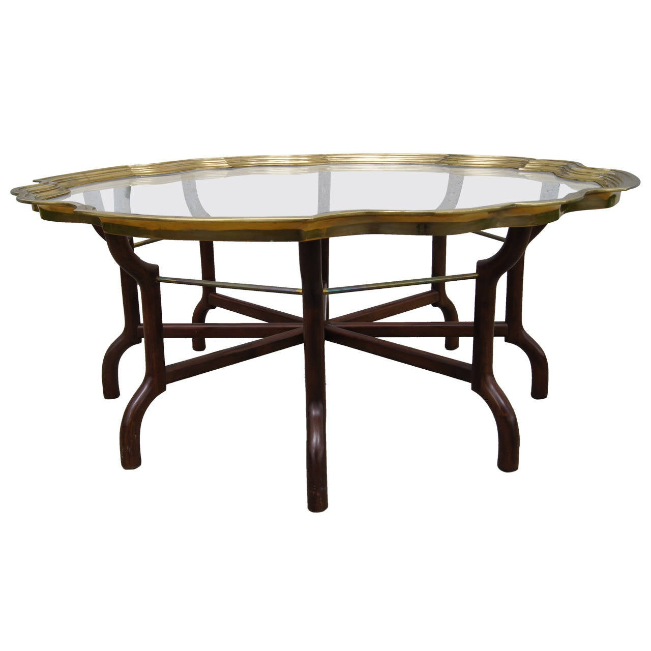 Brass and glass tray top coffee table by baker for sale at 1stdibs Baker coffee table
