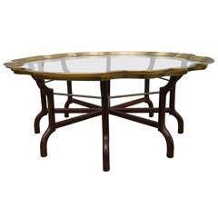Brass And Glass Tray Top Coffee Table Attributed To Baker Furniture