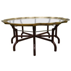 Brass and Glass Tray-Top Coffee Table Attributed to Baker Furniture