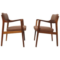 Pair of Leather and Walnut Armchairs by Edward Wormley for Dunbar