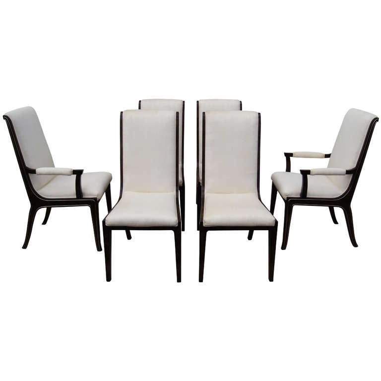 Set of Six Amboyna Wood Dining Chairs by William Doezema for Mastercraft For Sale