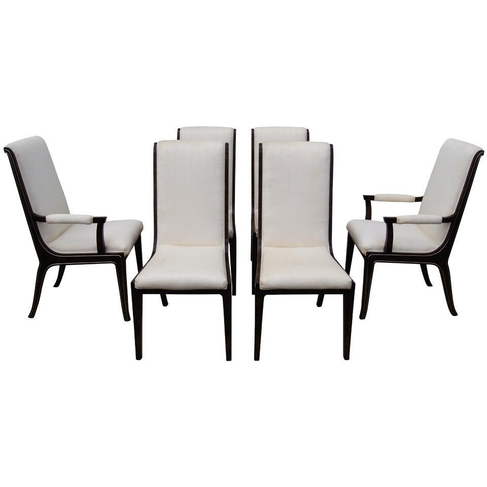 Set of Six Amboyna Wood Dining Chairs by William Doezema for Mastercraft