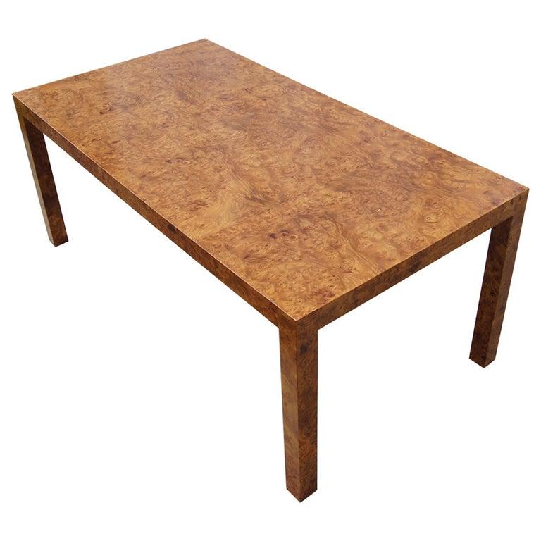Custom Walnut Burl Wood Parsons Coffee Table For Sale