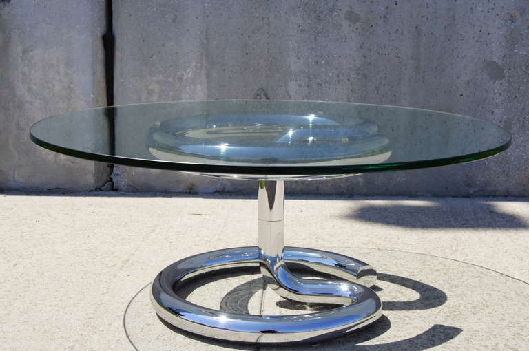 Glass and Chrome Anaconda Coffee Table by Paul Tuttle for Strässle For Sale 2