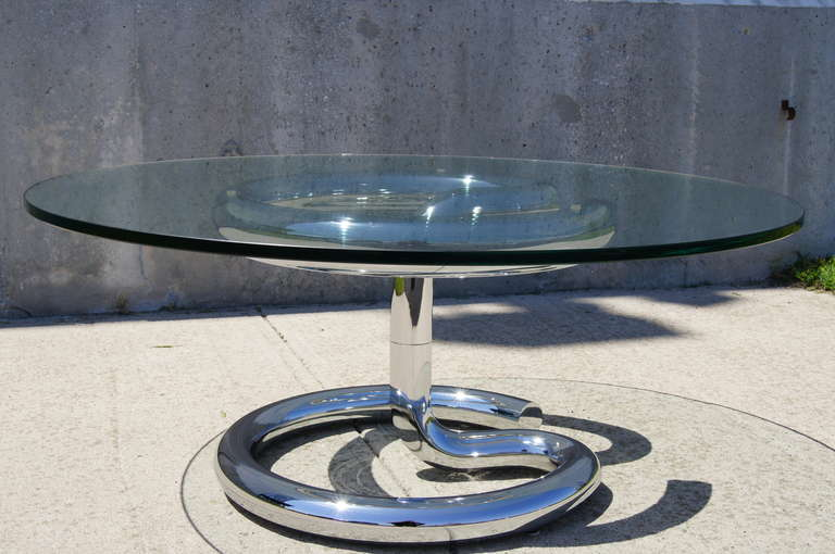 Modern Glass and Chrome Anaconda Coffee Table by Paul Tuttle for Strässle For Sale