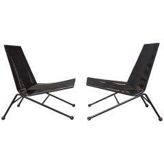 Pair of Black Bow Chairs by Allan Gould