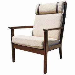 High-Back Oak Lounge Chair, GE-265, by Hans Wegner for GETAMA