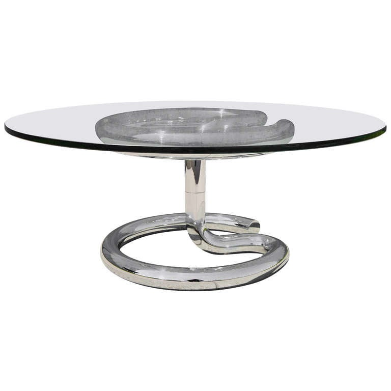 Glass and Chrome Anaconda Coffee Table by Paul Tuttle for Strässle For Sale