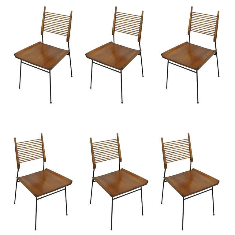 Set of Six Iron and Maple Dining Chairs by Paul McCobb for