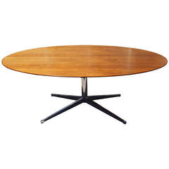 Walnut Oval Table Desk by Florence Knoll for Knoll