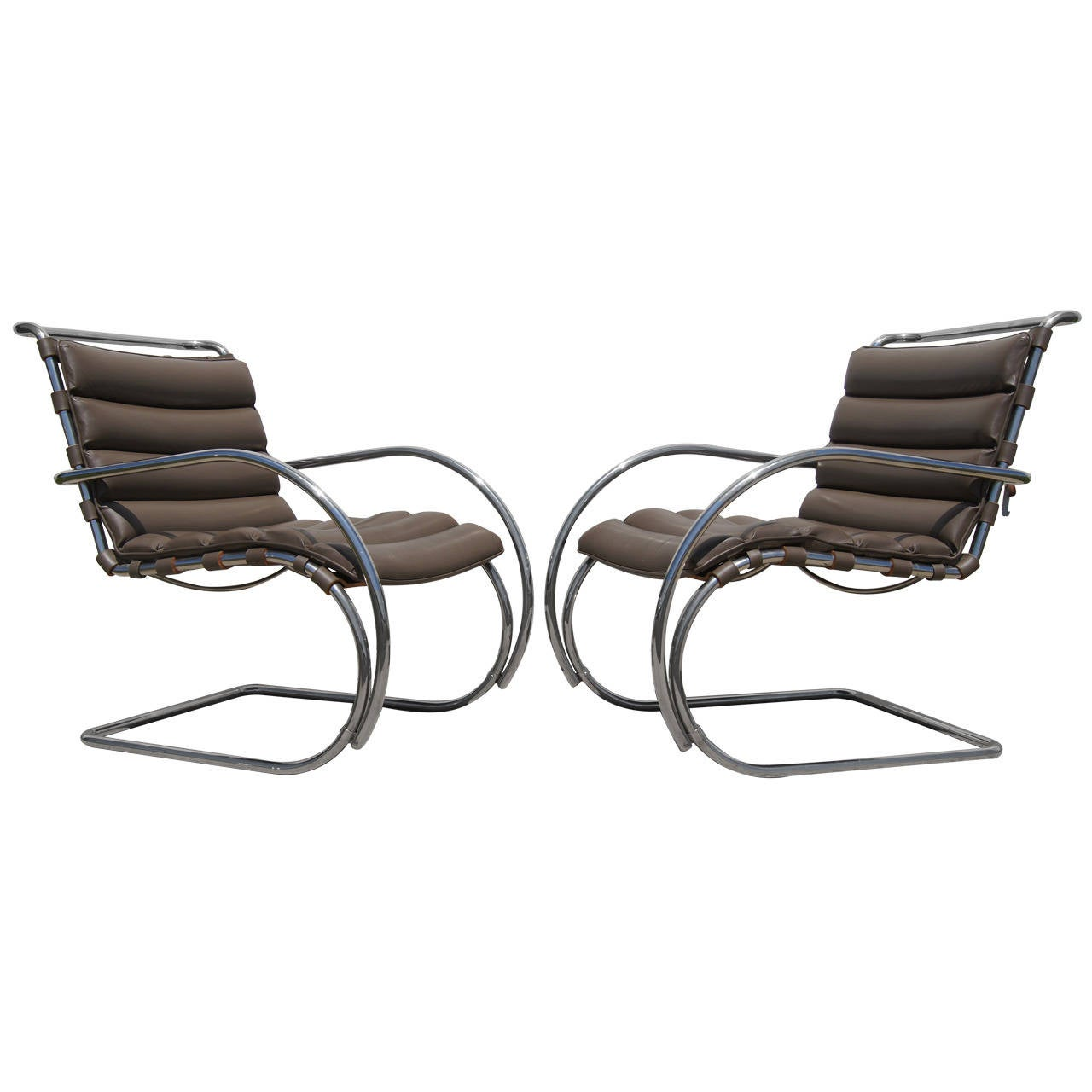 Pair of Brown Leather MR Lounge Armchairs by Mies van der Rohe for Knoll